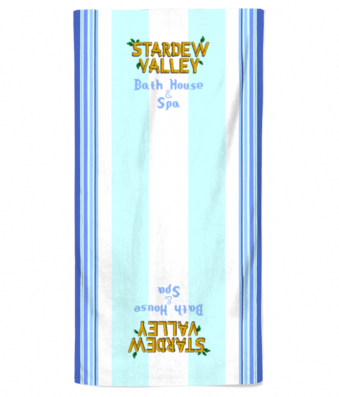 Bath House & Spa Beach Towel Printed Design Based on Stardew Valley